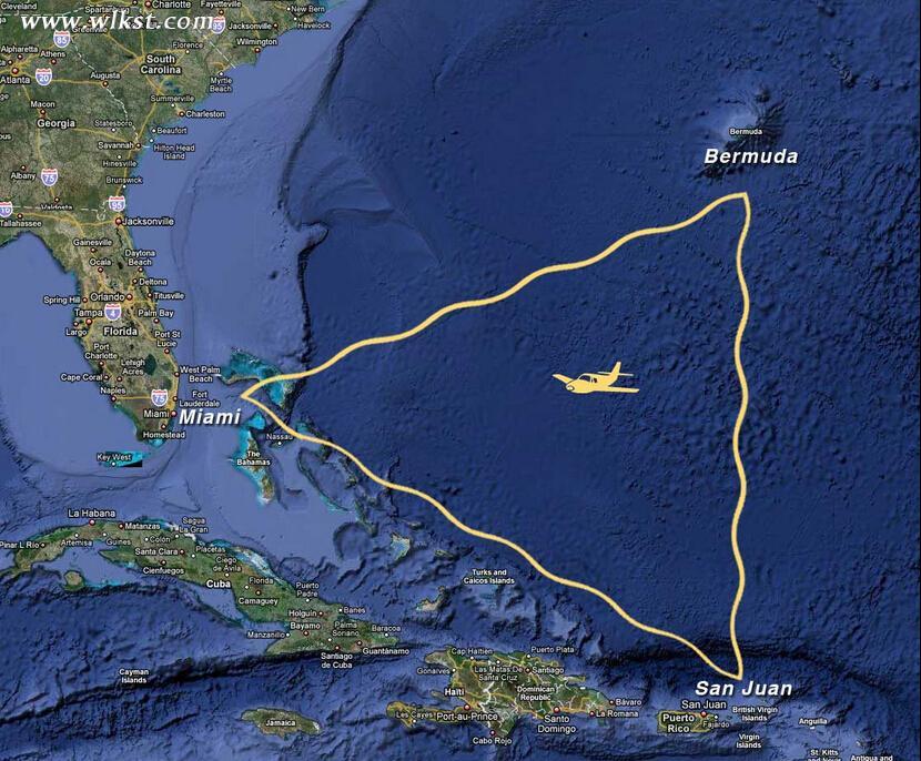 百慕大三角洲区域示意图